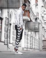Спортивный мужской костюм худи штаны хлопок белый с черным весна лето Киев
