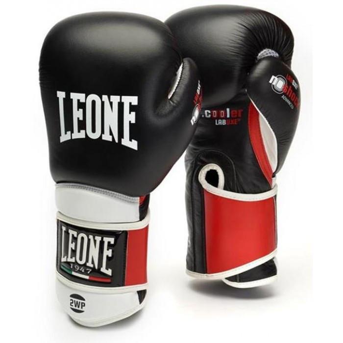 Боксерские перчатки кожаные Leone Tecnico 10 oz унций черный