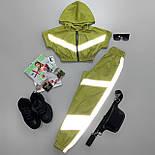 Спортивный костюм на лето из плащевки с топом на молнии и светоотражающими вставками 6605935Е, фото 4