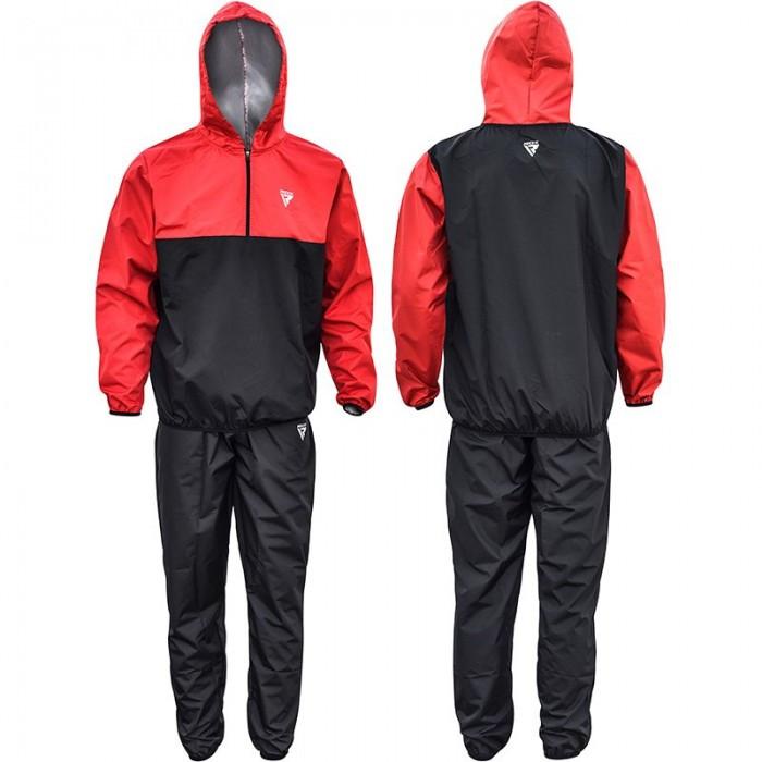 Костюм для похудения с капюшоном RDX Red New M черный с красным