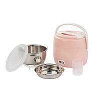 Портативный ланч-бокс с подогревом мини рисоварка А-Плюс 02 CLB 200 Вт/1,2л. розовый цвет