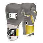 Боксерские перчатки кожаные Leone Tecnico Grey 14 oz унций серый, фото 2