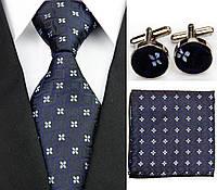 Черный галстук в цветок, запонки и платок