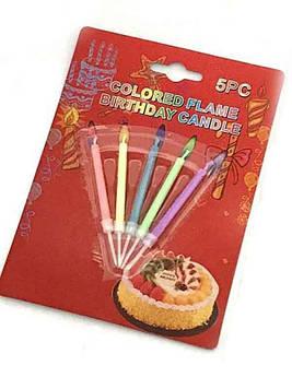 Свеча для торта Цветное пламя 8889 (5шт)