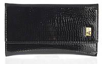 Небольшой лаковый стильный женский кошелек с кожи высокого качественный ALBERTO FELINI art. E1930-3981Z черный, фото 1