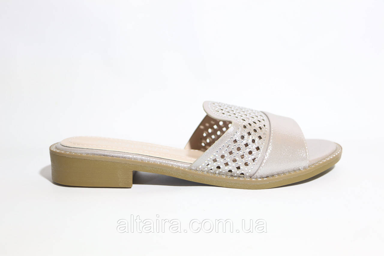 Сабо жіночі літні,шльопанці срібного кольору із шкірозамінника. Розміри 36-41