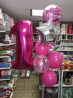 """Композиция с шаров """"1 розовый фонтан"""" набор 11 шт."""