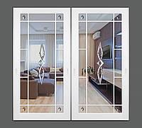 Межкомнатная дверь Casa Verdi раздвижная из  массива ольхи с зеркалом и декором на зеркале