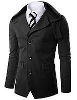 Приталенная куртка с капюшоном черное (хлопок) XL