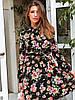 Короткое летнее принтованное платье с расклешенной юбкой и длинным рукавом 73PL1191