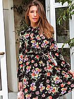 Короткое летнее принтованное платье с расклешенной юбкой и длинным рукавом 73PL1191, фото 1
