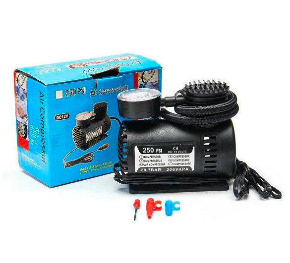 Автомобильный компрессор авто насос от прикуривателя 12в DC-12V 250 PSI Air Compressor черный