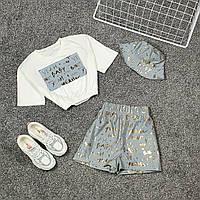 Женский летний костюм с шортами со светоотражением и укороченной футболкой на резинке 66KO731Q, фото 1