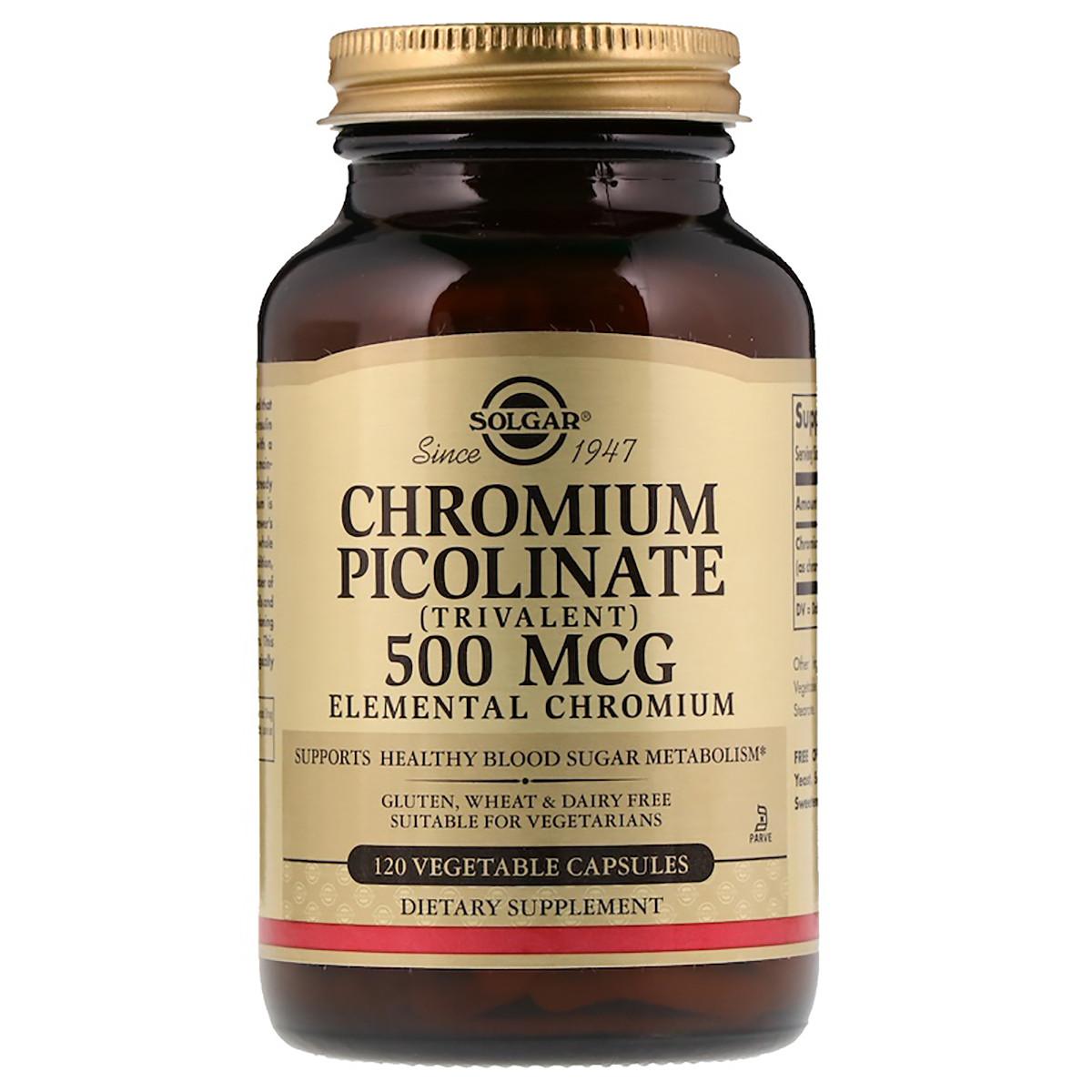 Хром Пиколинат, Chromium Picolinate, Solgar, 500 мкг, 120 капсул