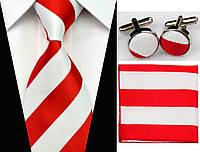Галстук в красно-белую полоску, запонки и платок, фото 1