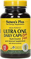 Ежедневные Мультивитамины без Железа, Ultra One, Natures Plus, 60 гелевых капсул