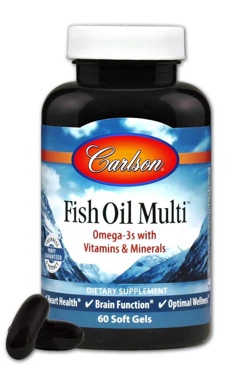 Мультивитамины и Минералы с Омега-3, Fish Oil Multi, Carlson, 60 желатиновых капсул