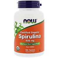 Органическая Спирулина 500мг, Now Foods, 180 таблеток