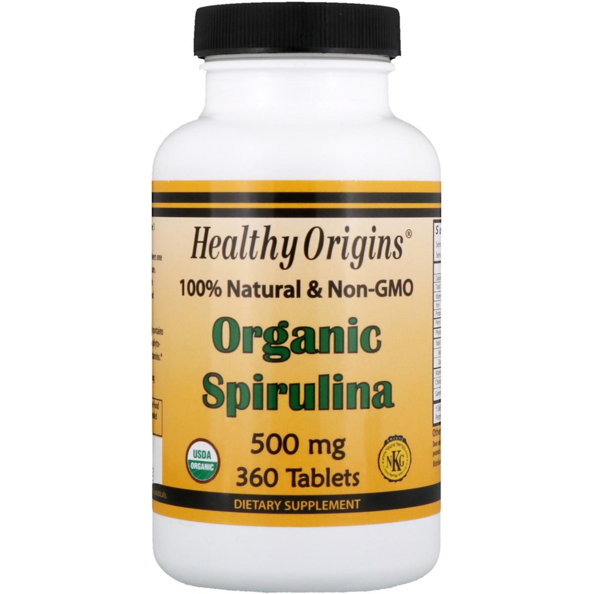 Органическая Спирулина, Organic Spirulina, Healthy Origins, 500 мг, 360 таблеток