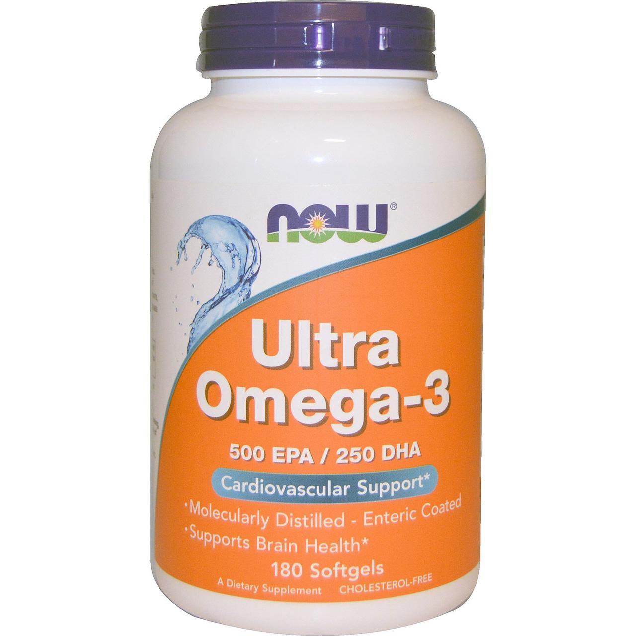 Ультра Омега-3, Now Foods, 180 желатиновых капсул