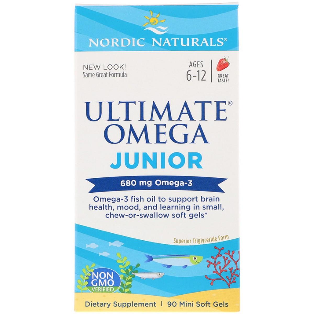 Рыбий Жир Для Подростков, Ultimate Omega Junior, Nordic Naturals, 680 мг, 90 Гелевых Капсул
