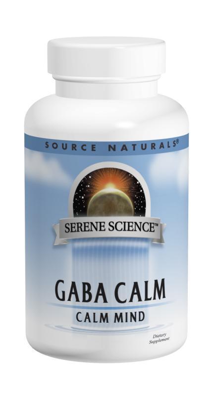 GABA (гамма-аминомасляная кислота), Вкус Апельсина, Serene Science, Source Naturals, 60 таблеток для