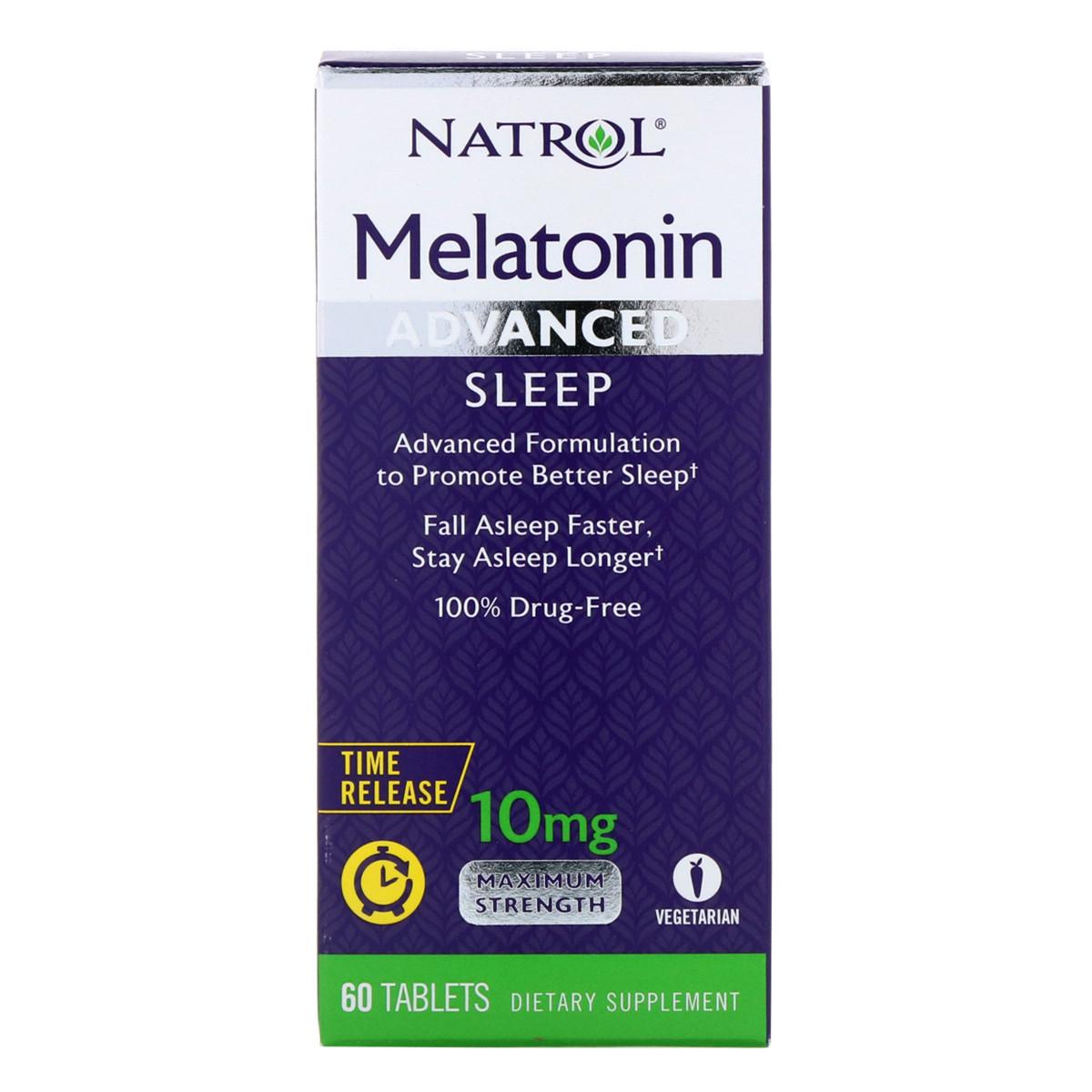 Мелатонин Медленного Высвобождения 10 мг, Melatonin Advanced Sleep, Natrol, 60 таблеток