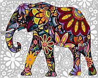 VK 156 Цветочный слон Картина по номерам на холсте 40x30см
