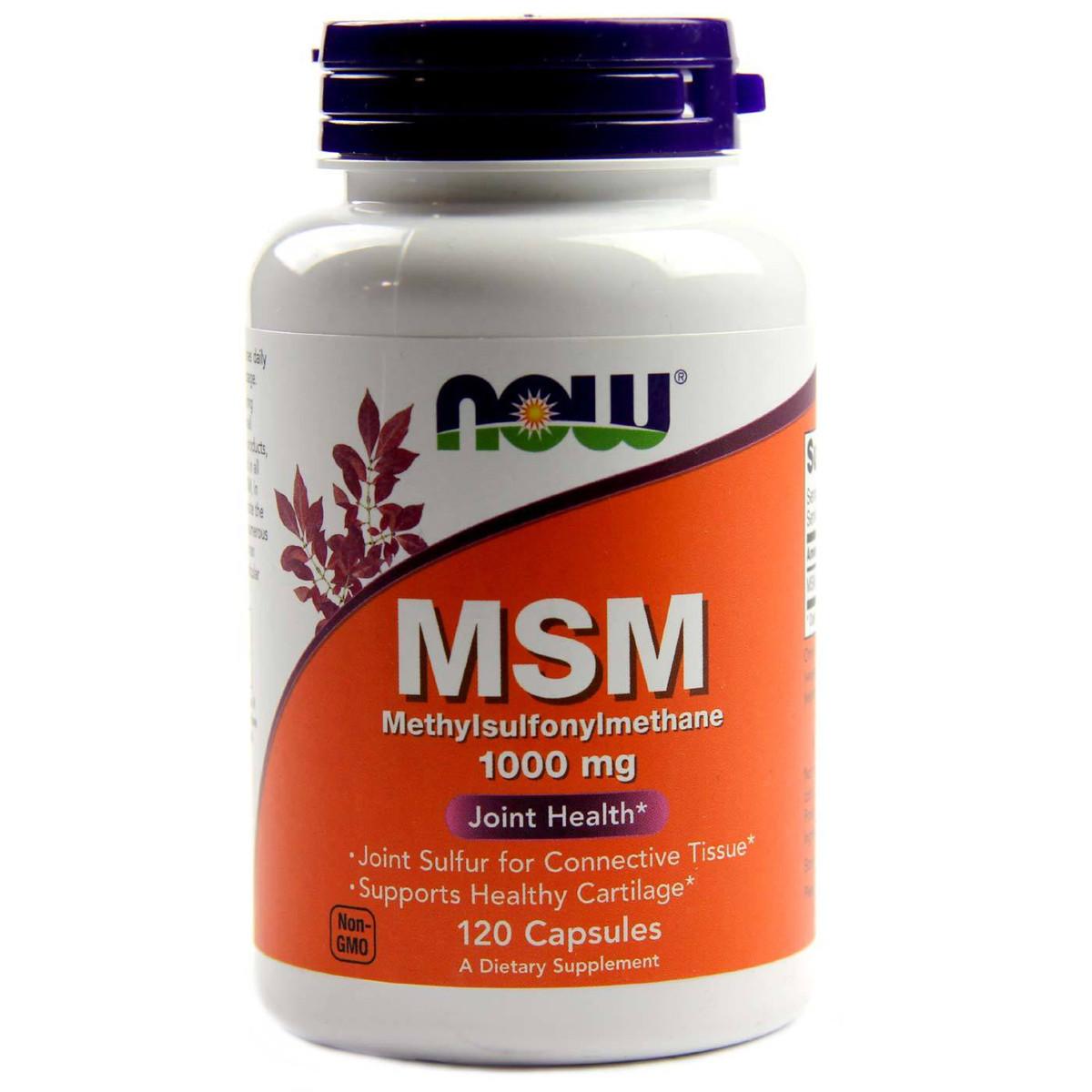 МСМ (Метилсульфонинметан), MSM, Now Foods, 1000 мг, 120 капсул