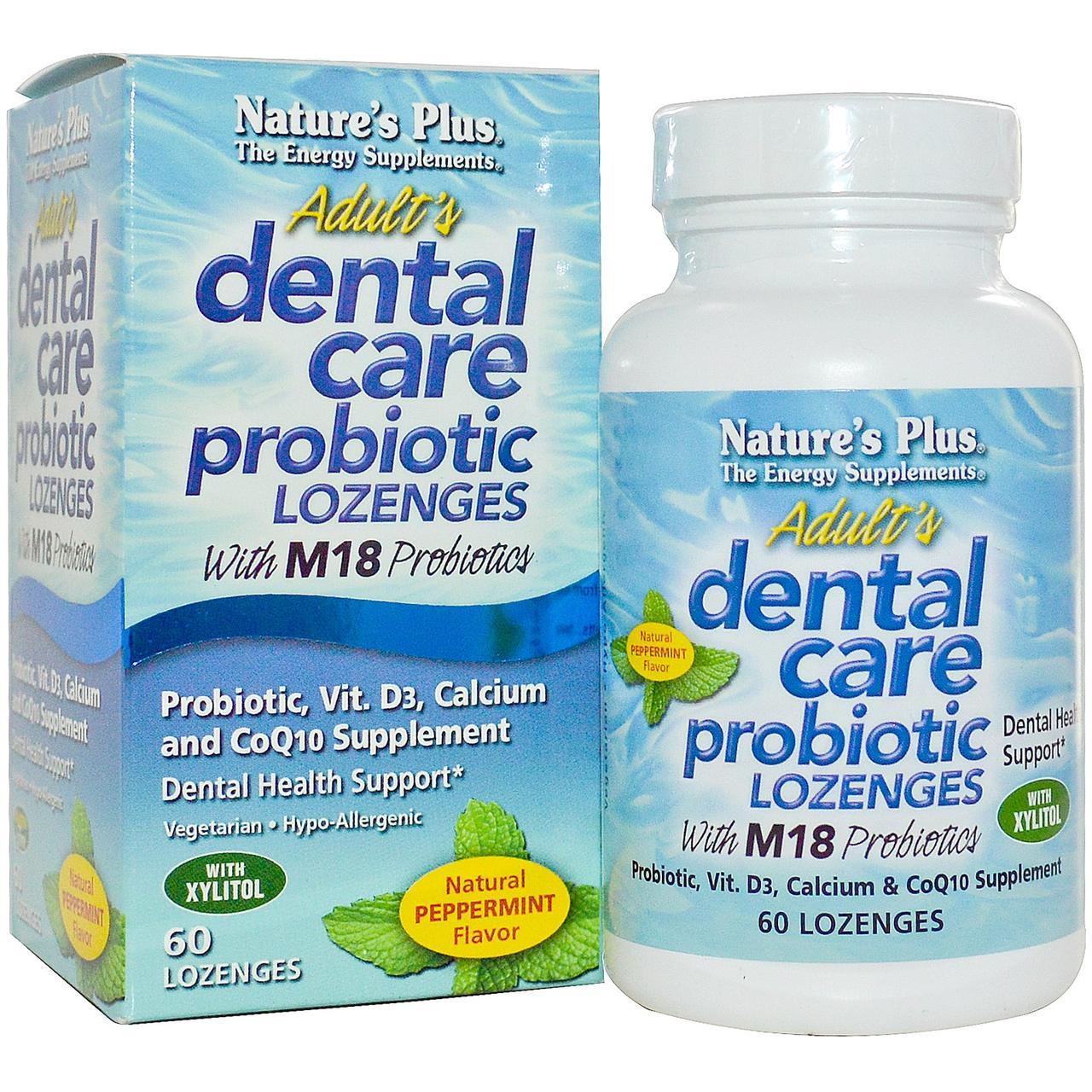 Пробиотик для Здоровья Зубов и Полости Рта для Взрослых, Вкус Мяты, Natures Plus, 60 таблеток для рассасывания