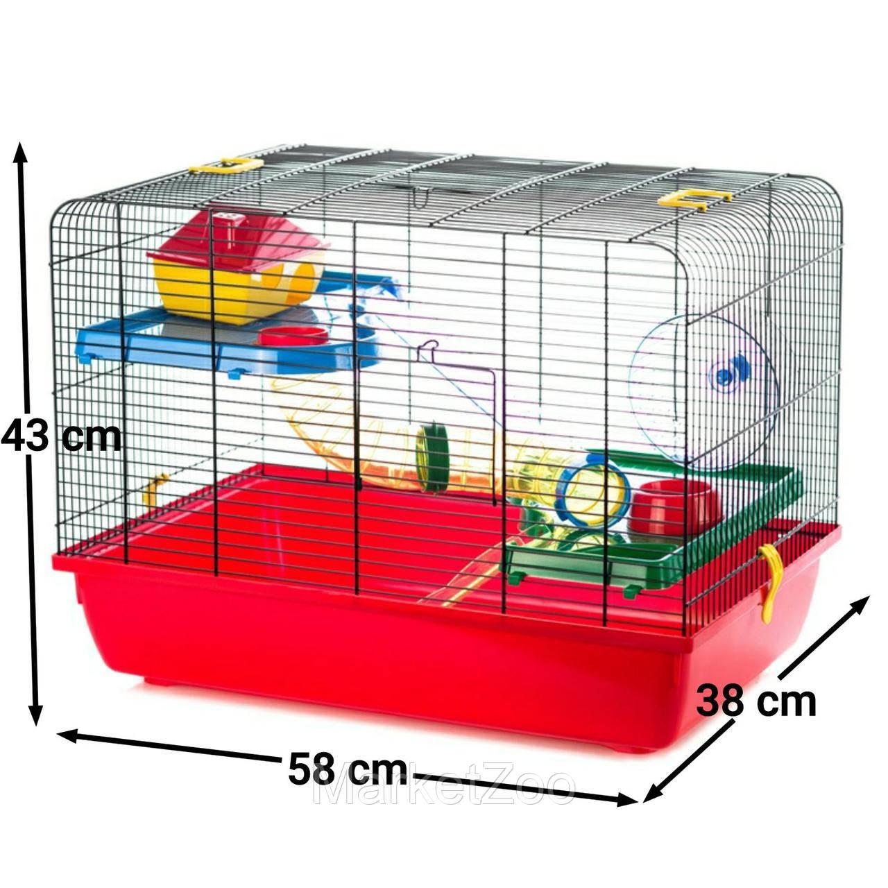 JERRY2 клетка с трубой для грызунов 58*38*43см G122 Интер-зоо