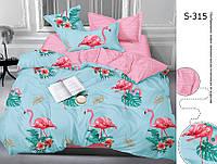 Постельное белье фламинго евро макси, люкс сатин с компаньоном S315
