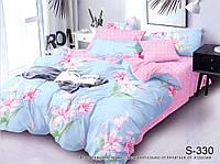Евро комплект розово-голубой постельного белья с компаньоном люкс-сатин S330