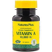 Витамин А, Vitamin A, Nature's Plus, 10,000 МЕ, 90 таблеток