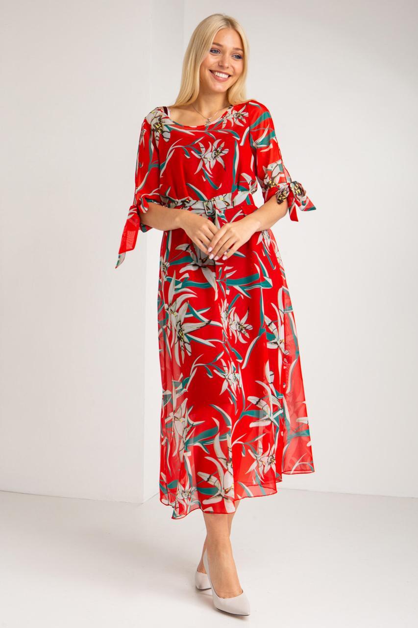 Красное платье LIUA из шифона в крупные цветы