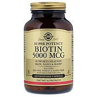 Биотин (В7) 5000 мкг, Solgar, 100 гелевых капсул