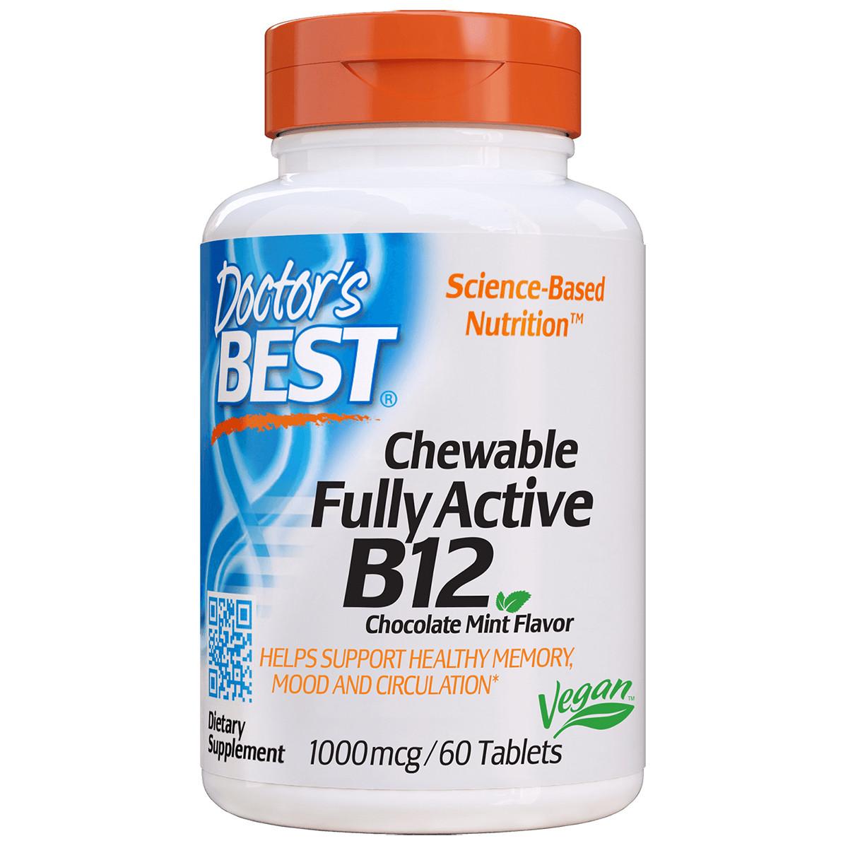 Полностью Активированный Витамин В12 1000мкг, Шоколадно-Мятный Вкус, Doctor's Best, 60 жевательных таблеток