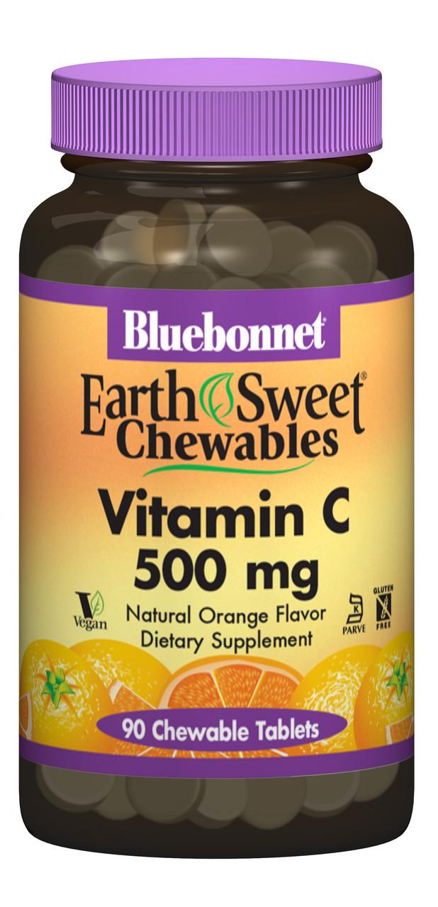 Витамин С 500мг, Вкус Апельсина, Earth Sweet Chewables, Bluebonnet Nutrition, 90 жевательных таблеток