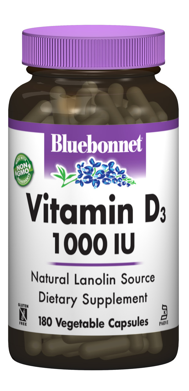 Витамин D3 1000IU, Bluebonnet Nutrition, 180 гелевых капсул