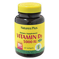 Витамин D3 5000IU, Natures Plus, 60 желатиновых капсул