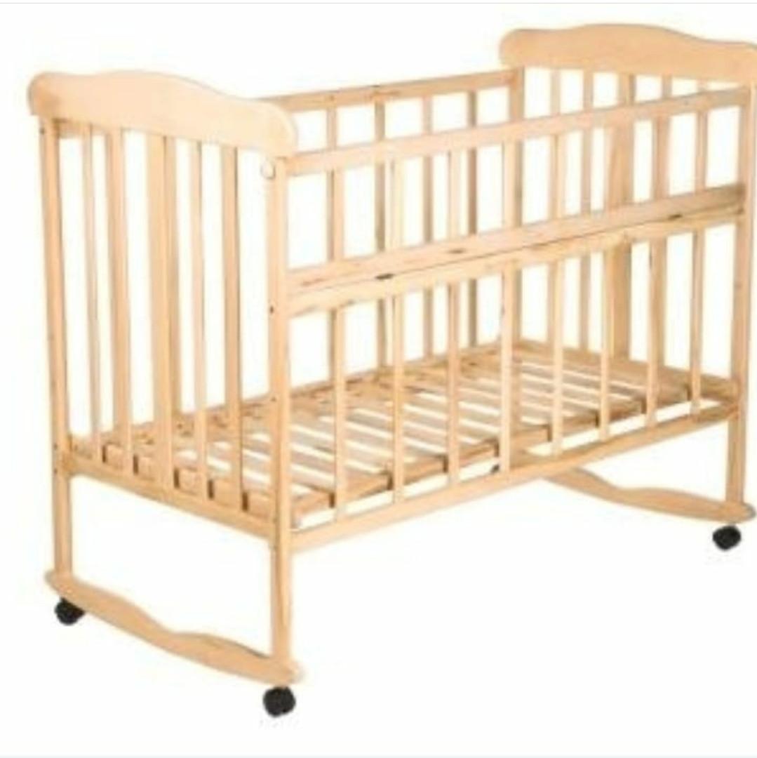 Детская кроватка колесо+качалка Лакированная