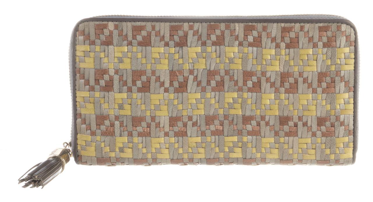 Функціональний міцний плетений шкіряний якісний жіночий гаманець барсетка MORO art. MR-122-76N плетінка