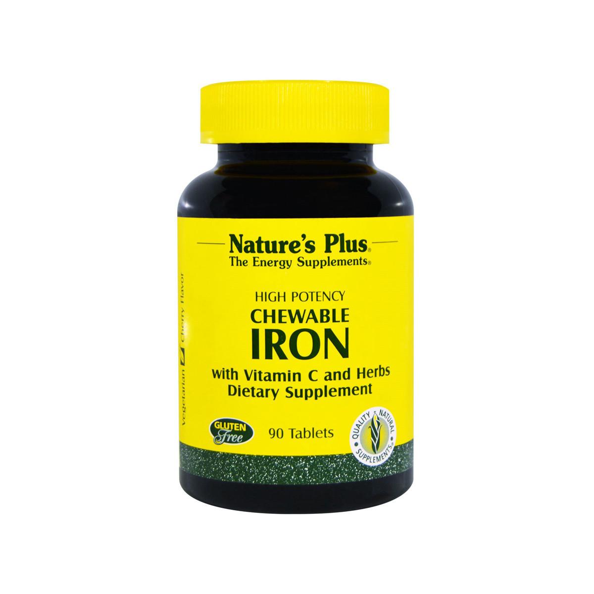 Железо с Витамином С, Chewable Iron, Natures Plus, 90 жевательных таблеток