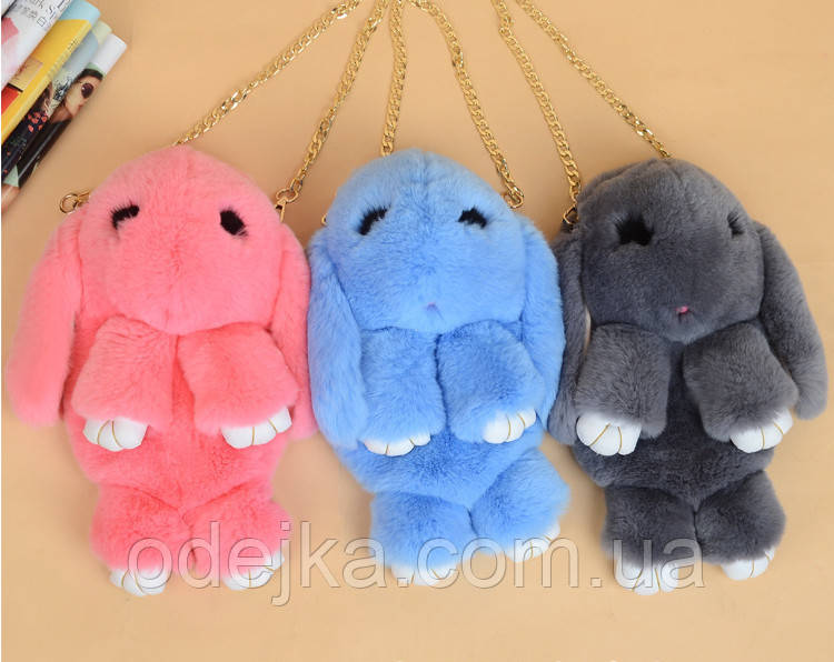 Рюкзак детский Кролик меховой (10 цв), меховой заяц, сумка кролик, меховой кролик