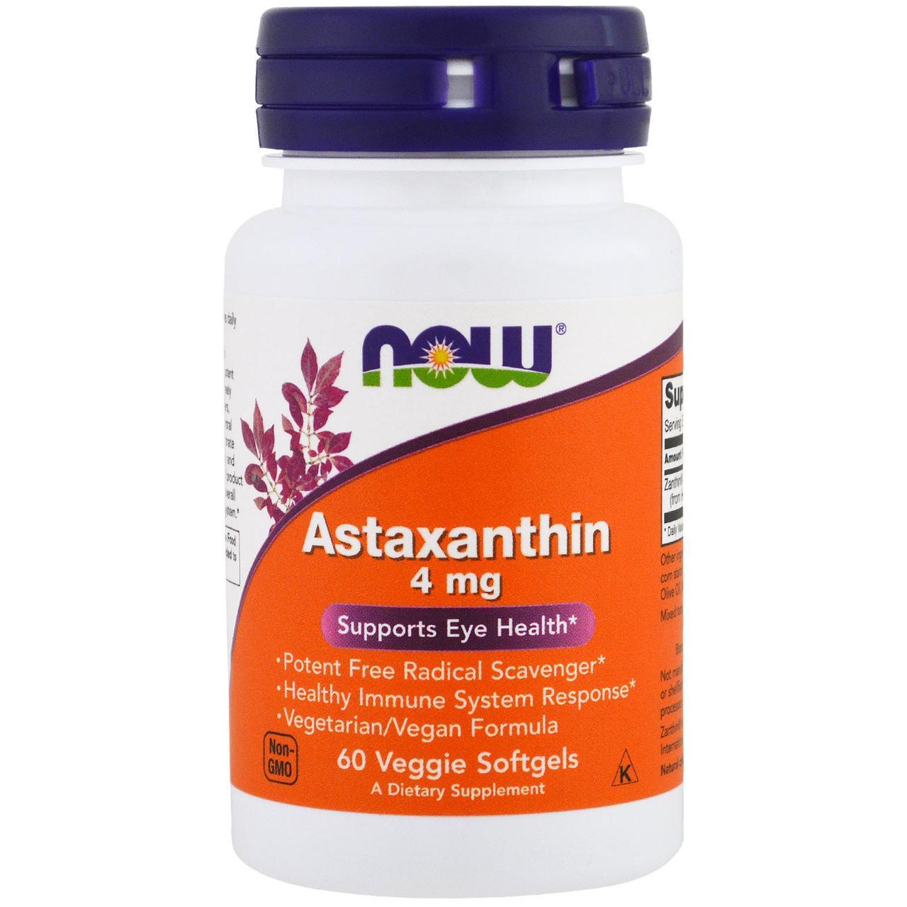 Астаксантин, Astaxanthin, 4 мг, Now Foods, 60 желатиновых капсул