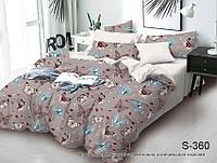 Комплект постельного белья семейный с бабочками люкс-сатин (100% хлопок) S360