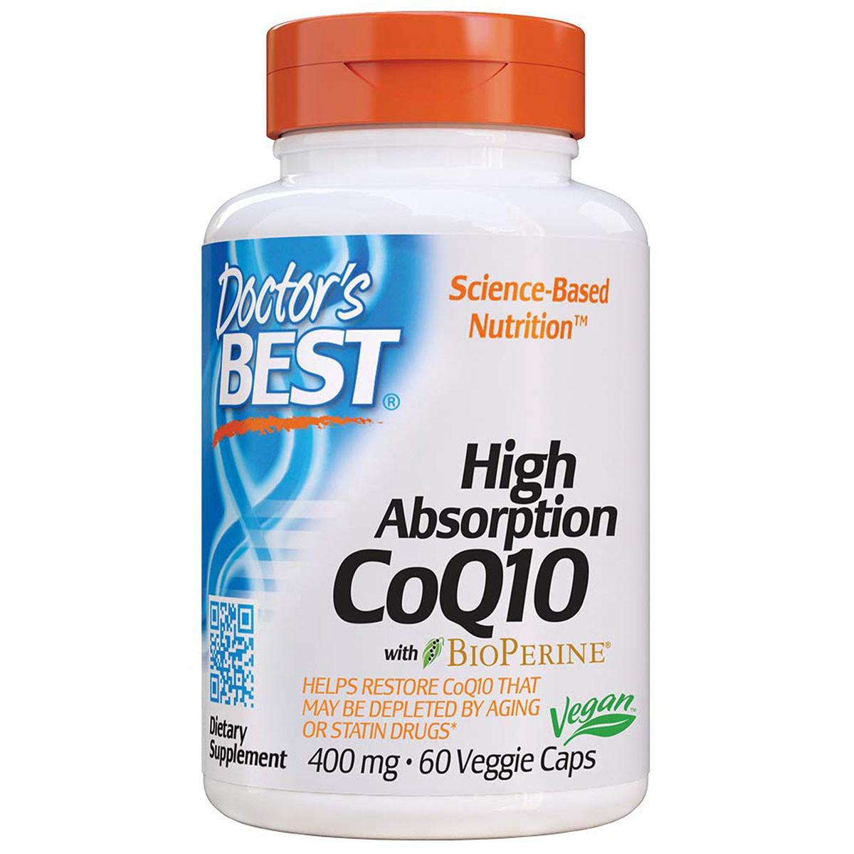 Коэнзим Q10 Высокой Абсорбации  400 мг, BioPerine, Doctor's Best, 60 желатиновых капсул