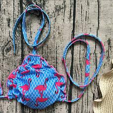 Купальник раздельный бикини мягкая чашка, плавки бразилиана фламинго-139-12, фото 3