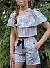 Топ с шортами для девочки  код 929  лето , размеры на рост от 140 до 158 возраст от 9 лет и старше