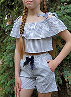 Топ с шортами для девочки  код 929  лето , размеры на рост от 140 до 158 возраст от 9 лет и старше, фото 1